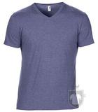 Camisetas Anvil Cuello V color Heather Blue :: Ref: heather-blue