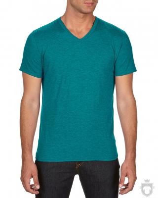 Camisetas Anvil Cuello V color Heather Galapagos Blue :: Ref: heather-galapagos-blue