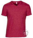 Camisetas Anvil Cuello V color Heather Red :: Ref: heather-red