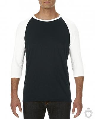 Camisetas Anvil Raglan 3/4 color Black/White :: Ref: FS036