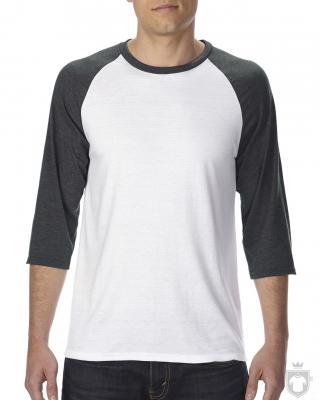Camisetas Anvil Raglan 3/4 color White/Heather Dark Grey :: Ref: FZ030