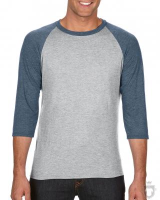 Camisetas Anvil Raglan 3/4 color Heather Grey/Heather Navy :: Ref: GB346