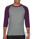 Camisetas Anvil Raglan 3/4 color Heather Grey/Heather Aubergine :: Ref: GI346