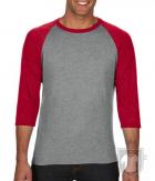 Camisetas Anvil Raglan 3/4 color Heather Grey/Heather Red :: Ref: GK346