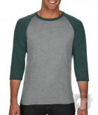 Camisetas Anvil Raglan 3/4 color Heather Grey/Heather Dark Green :: Ref: GM346