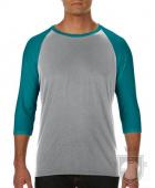 Camisetas Anvil Raglan 3/4 color Heather Grey/Heather Galapagos Blue :: Ref: HM346