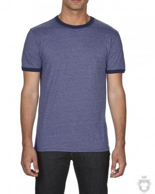 Camisetas Anvil Fashion Ringer color Heather blue - Navy :: Ref: heather-blue-navy