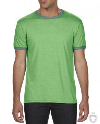 Camisetas Anvil Fashion Ringer color Heather green - Kelly green :: Ref: heather-green-kelly-green