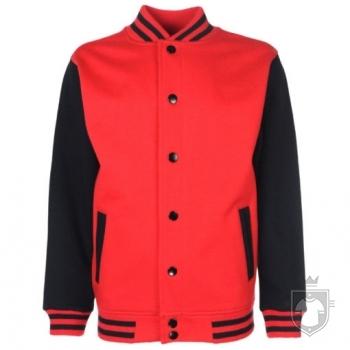 Sudaderas FDM Chaqueta Varsity Kids color Fire red-Black :: Ref: 45