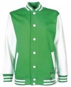 Sudaderas FDM Chaqueta Varsity Kids color Kelly green-White :: Ref: 53