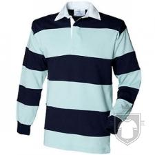 Polos Front Row Rayas anchas Rugby ML color Navy - DuckEgg :: Ref: navyduckegg