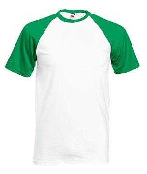 Camisetas Fruit of the Loom Baseball color White / Kelly green :: Ref: WK