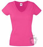Camisetas Fruit of the Loom Value cuello V  Lady color Fuchsia :: Ref: 57