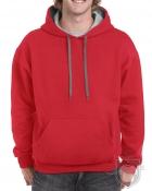 Sudaderas Gildan Heavy capucha contraste color Red - Sport Grey :: Ref: JA040
