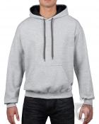 Sudaderas Gildan Heavy capucha contraste color Sport grey   black :: Ref: JB095