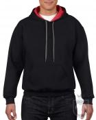 Sudaderas Gildan Heavy capucha contraste color Black   red :: Ref: JC036