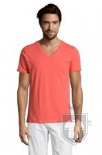 Camisetas Sols Master   cuello v color Coral :: Ref: 158