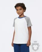 Camisetas Stanley/Stella Mini Jump K color White/Heather Grey/MH Royal Blue :: Ref: C998