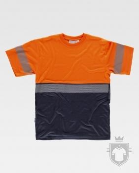 Camisetas Work Team alta visibilidad tacto algodón color High Visibility Orange / Navy :: Ref: NAV_MR